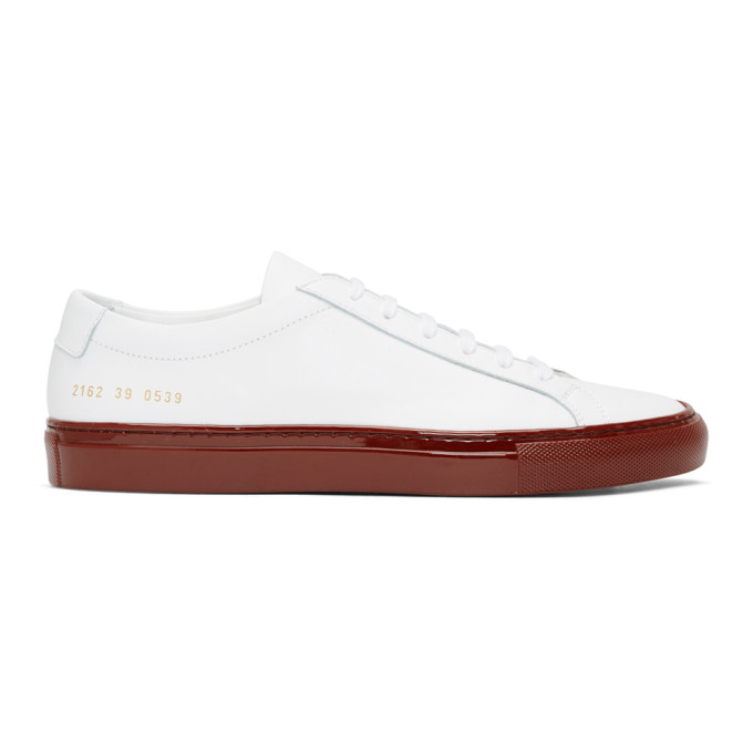 Common Projects White & Red Shiny Sole Achilles Low Sneakers
