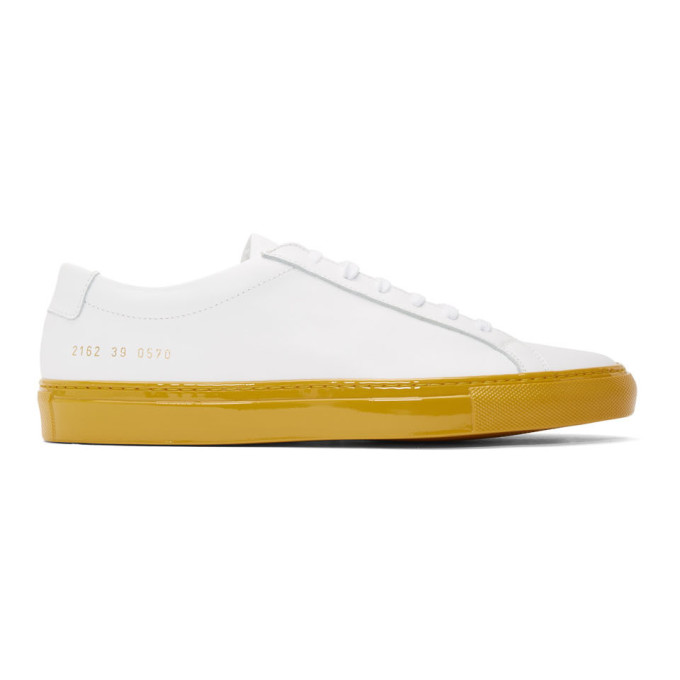 Common Projects White & Yellow Shiny Achilles Sneakers