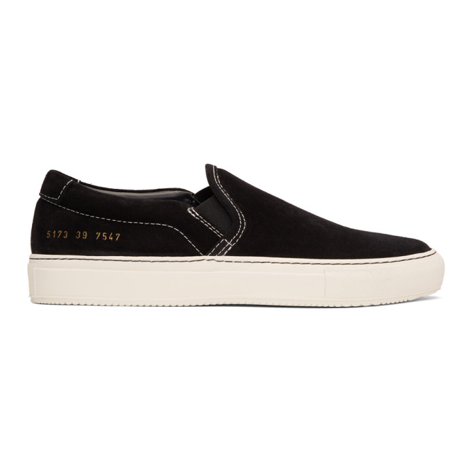 Common Projects Black Suede Slip-On Sneakers