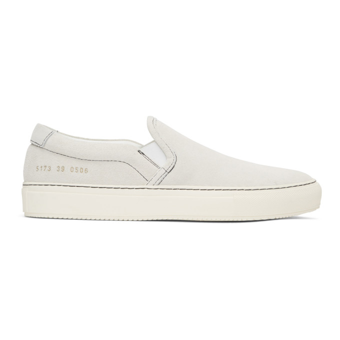 Common Projects White Suede Slip-On Sneakers