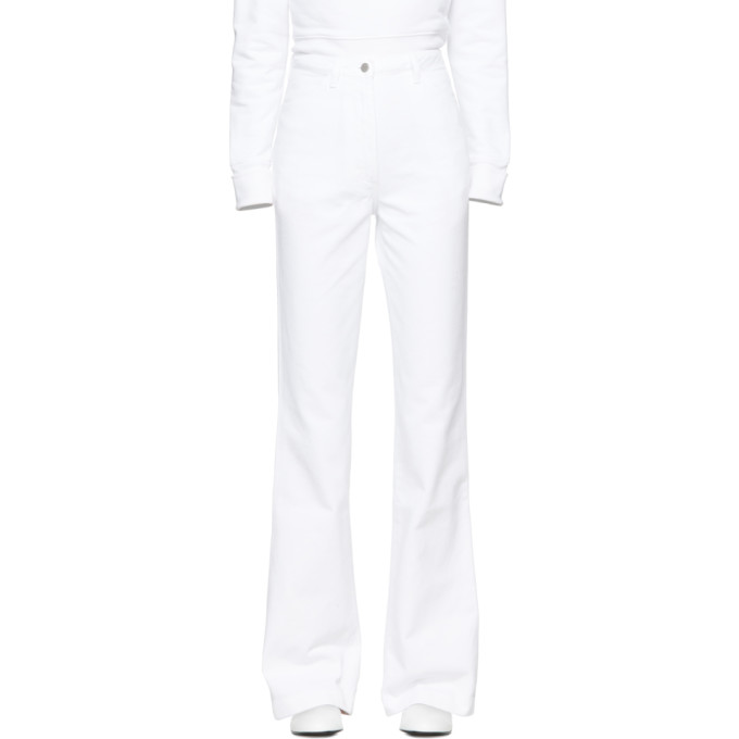 A_PLAN_APPLICATION A-Plan-Application White High-Waist Bootcut Jeans, Optical Whi