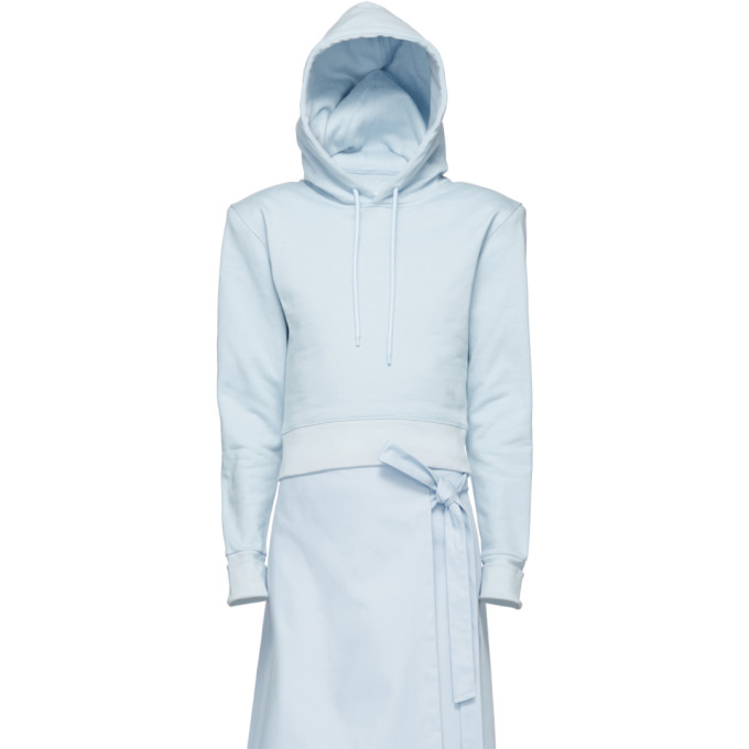 A_PLAN_APPLICATION A-Plan-Application Blue Fitted Hoodie, Pale Blue
