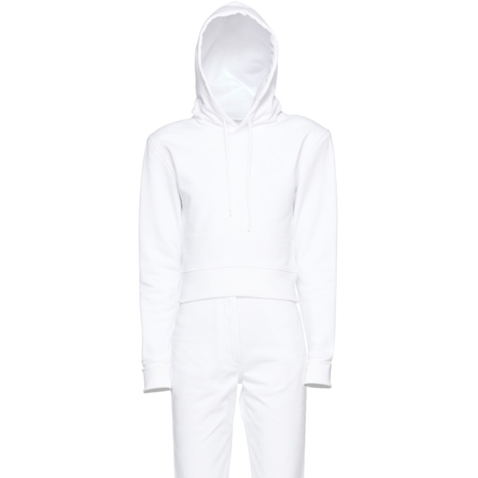 A_PLAN_APPLICATION A-Plan-Application White Fitted Hoodie, Opticalwhit