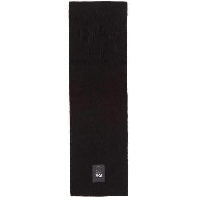 Y-3 ブラック リブ ウール ロゴ マフラー