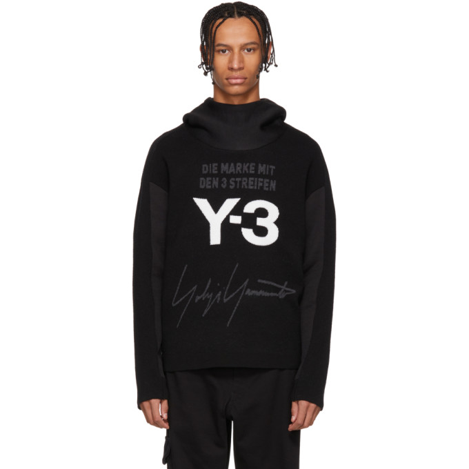 Y-3 Tops Y-3 BLACK AND WHITE STACKED LOGO HOODIE
