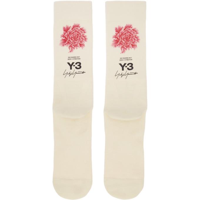 Image of Y-3 Beige James Harden Graphic Logo Socks