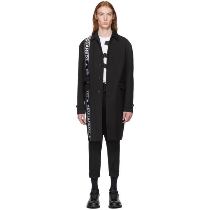 Dsquared2 Black Wool Cady Coat