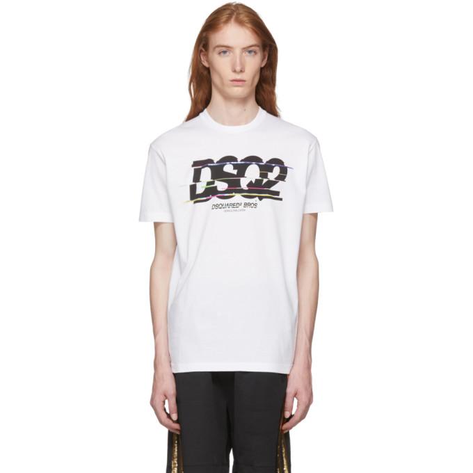 Dsquared2 White Glitched Logo T-Shirt