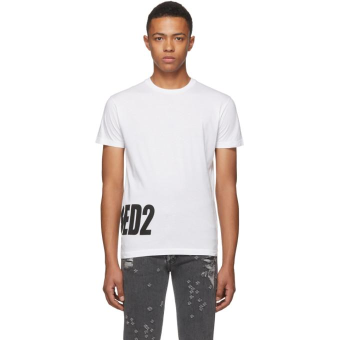 Dsquared2 ホワイト ボトム ロゴ T シャツ