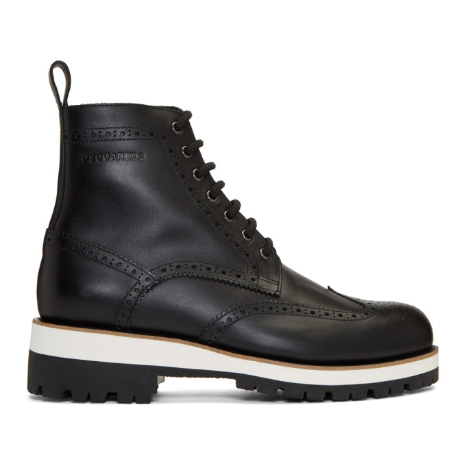Dsquared2 Black Flat Lace-Up Boots