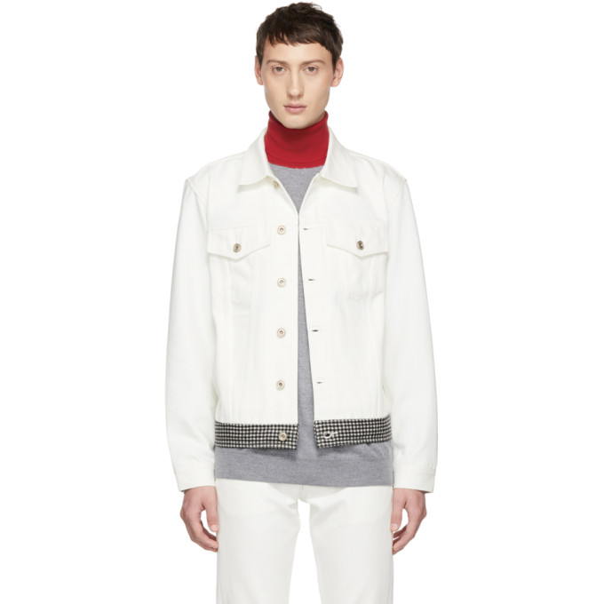 BAND OF OUTSIDERS Band Of Outsiders White Check Denim Jacket in 9000.As.Whi