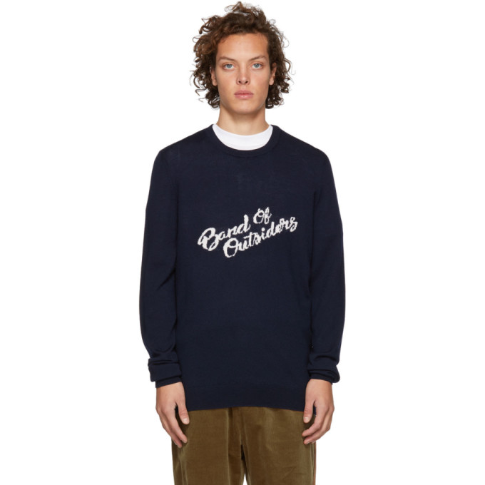 BAND OF OUTSIDERS Band Of Outsiders Navy Logo Merino Crewneck Sweater in 2502.Navy