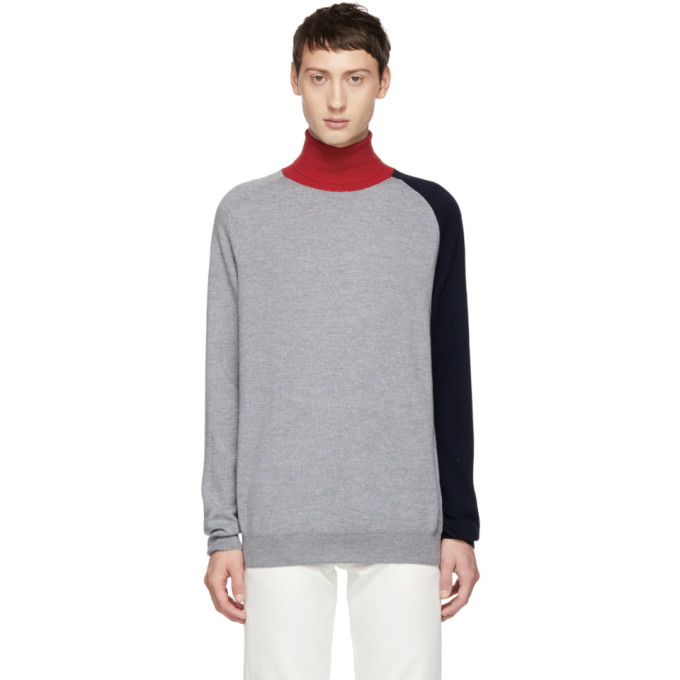 BAND OF OUTSIDERS Band Of Outsiders Grey Colorblocked Turtleneck in 8525.G.Rd.N