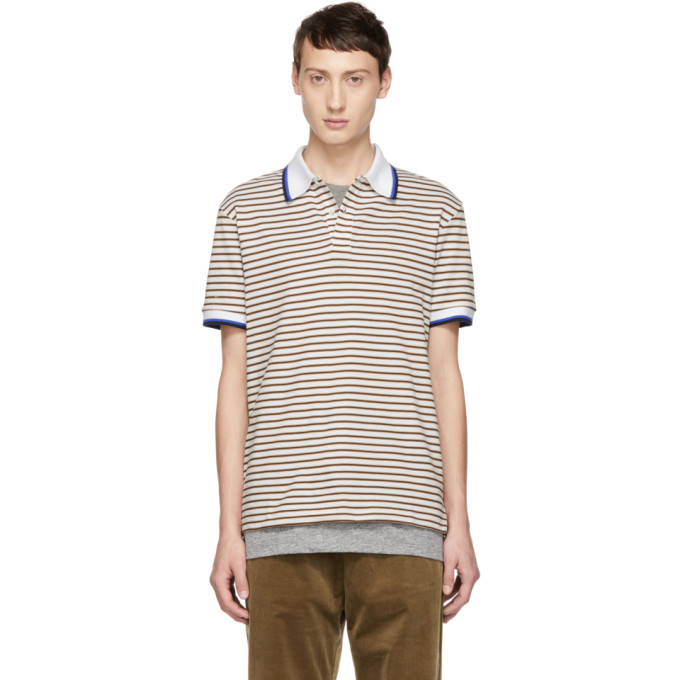 BAND OF OUTSIDERS Band Of Outsiders White And Beige Stripe Polo in 9070.Wht.Be
