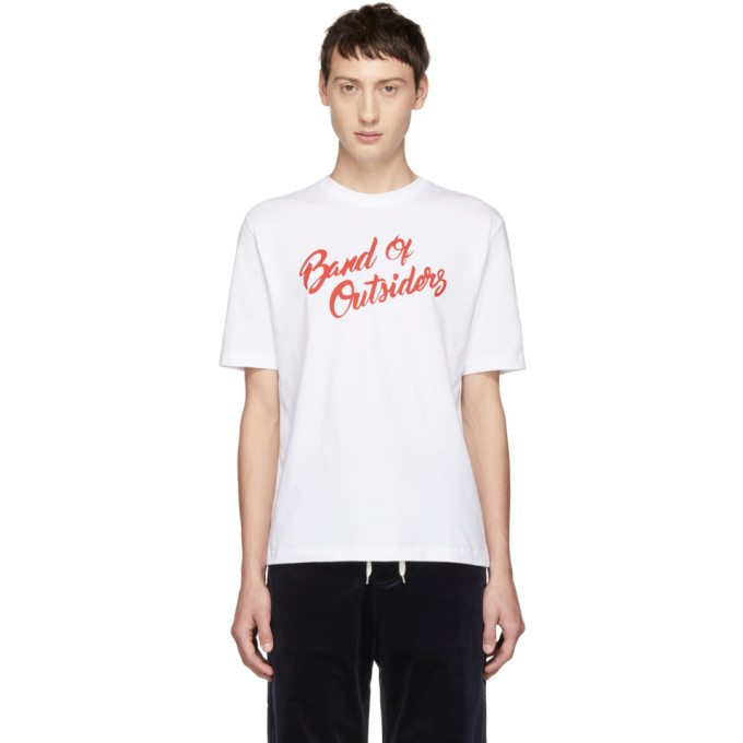 BAND OF OUTSIDERS Band Of Outsiders White Logo Alpine Band T-Shirt in 9000.Wht
