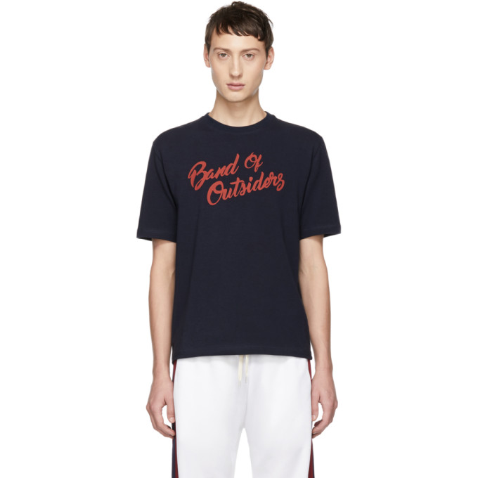 BAND OF OUTSIDERS Band Of Outsiders Navy Logo Alpine Band T-Shirt in 2502.Kit.Nv