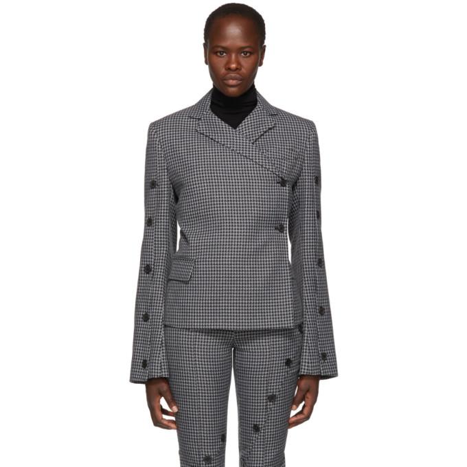 ROKH Button-Embellished Houndstooth Tweed Blazer in 35 Grey Her