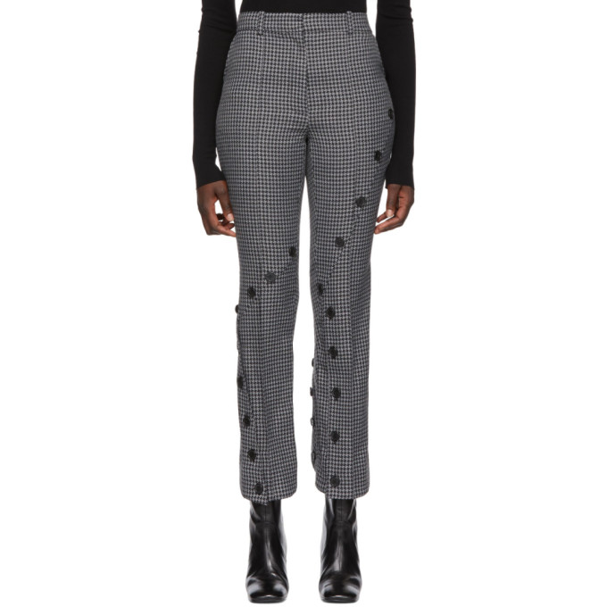 Rokh ROKH GREY AND BLACK HOUNDSTOOTH SLASH TROUSERS