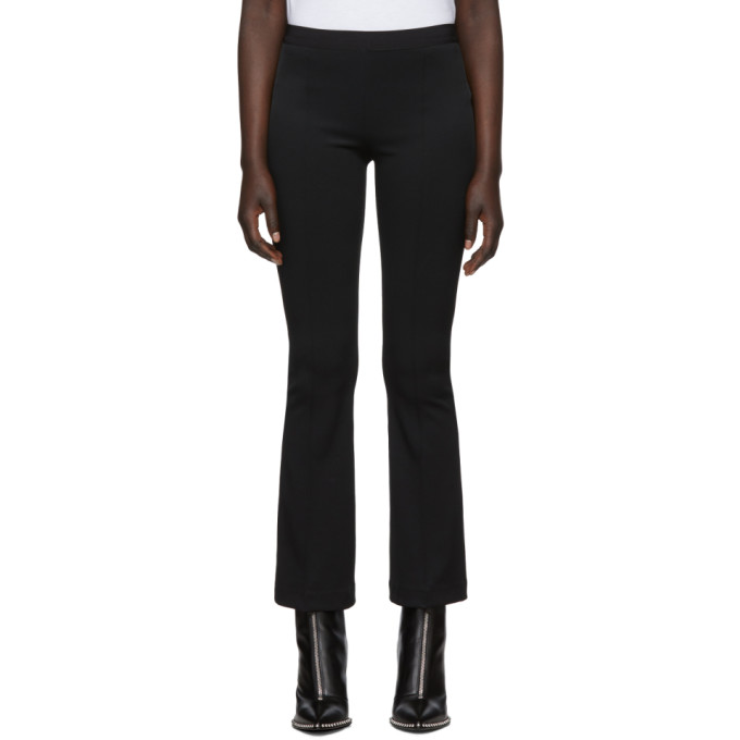 Helmut Lang Black Cropped Flare Rib Trousers