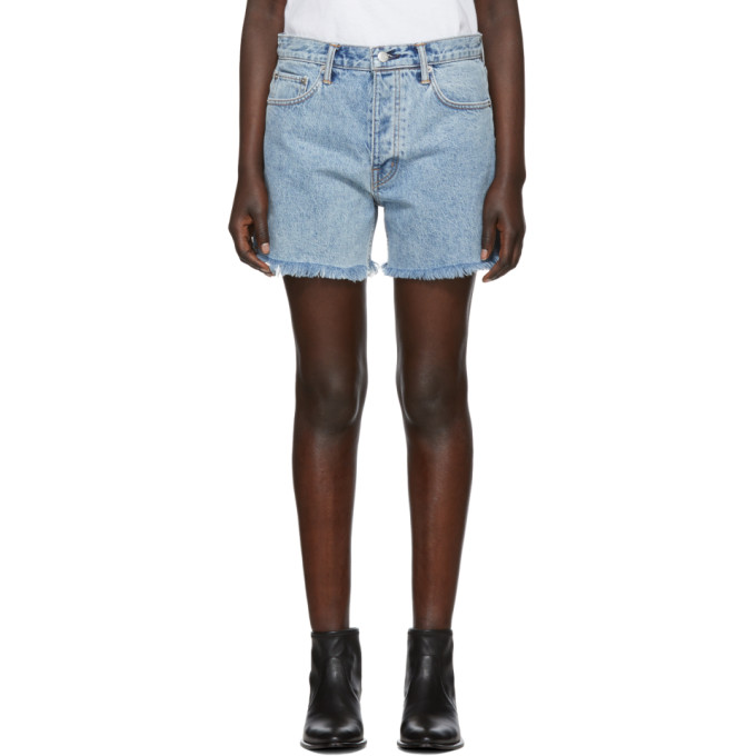 Cut Off Boy Fit Denim Shorts in Blue