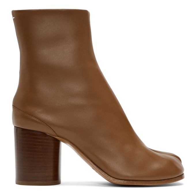 Maison Margiela Tan Leather Tabi Boots