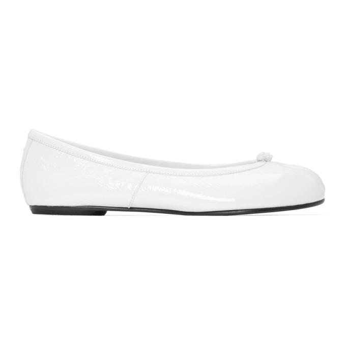 Maison Margiela White Patent Tabi Ballerina Flats