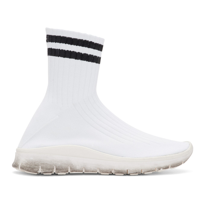 Maison Margiela White & Black Sock High-Top Sneakers
