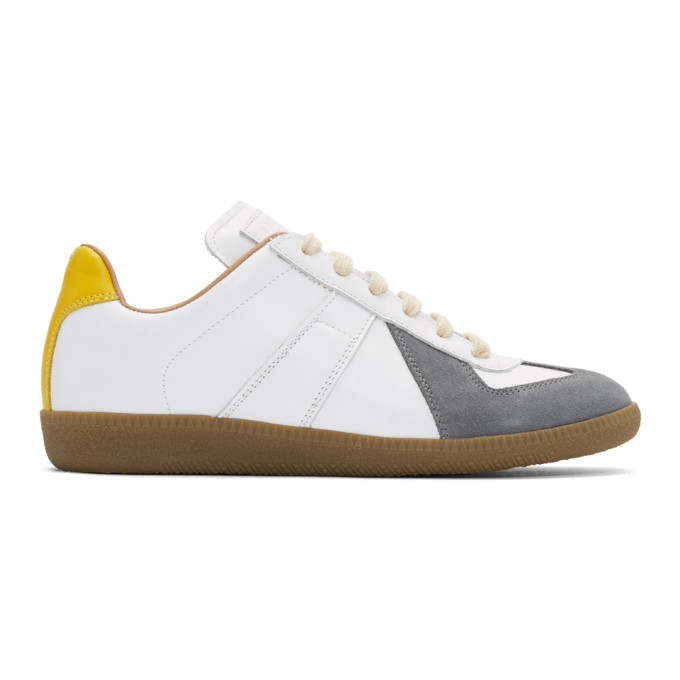 Maison Margiela White & Grey Court Sneakers