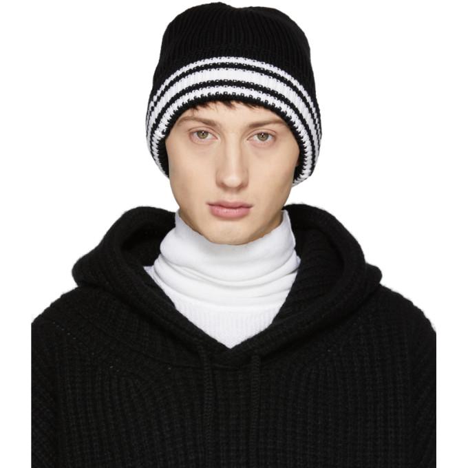 Maison Margiela Black Knit Beanie In 900 Blk Wh  eb520c8c19c1