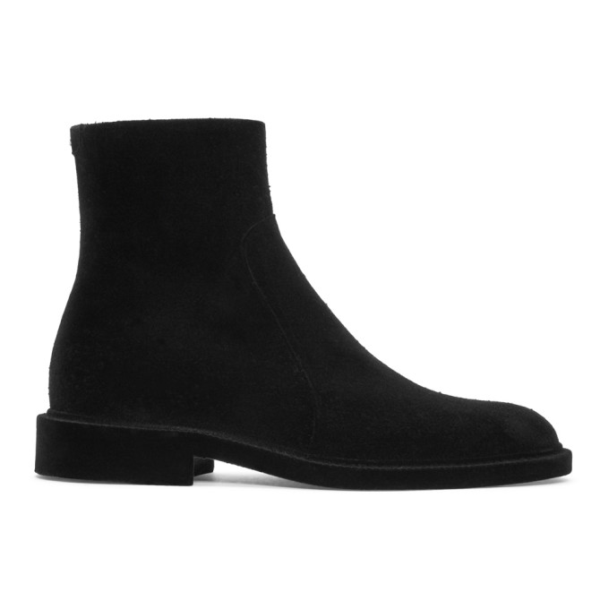 Maison Margiela Black Flock Treatment Ankle Boots