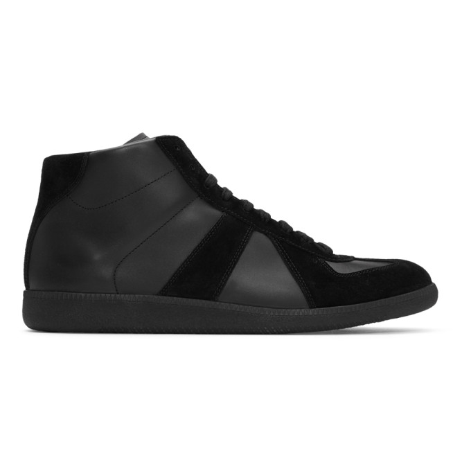 Maison Margiela Black Replica Mid-Top Sneakers
