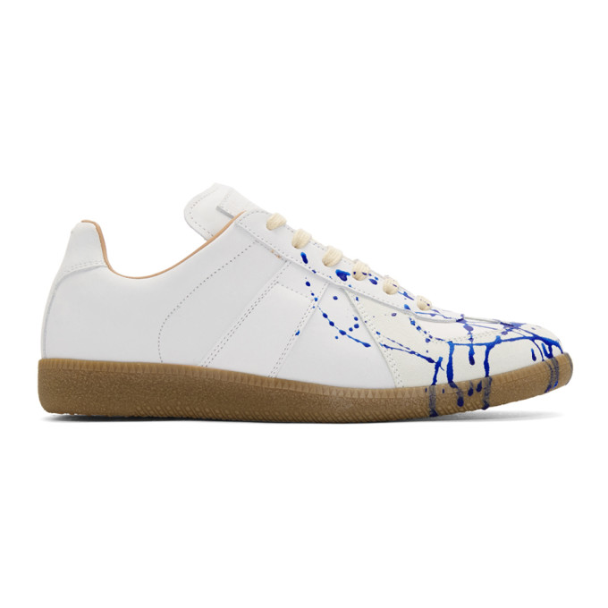 Maison Margiela White & Blue Painter Sneakers