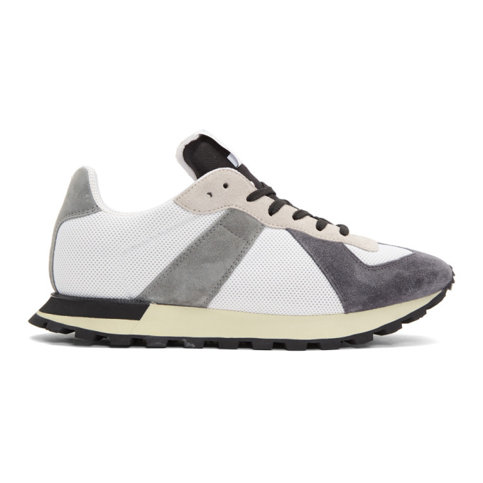 Maison Margiela White & Grey Replica Runner Sneakers