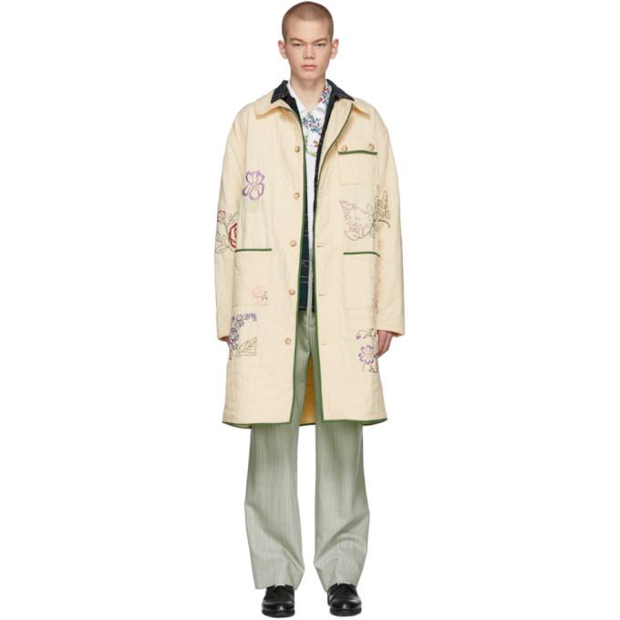 BODE Bode Beige Floral Long Workwear Coat