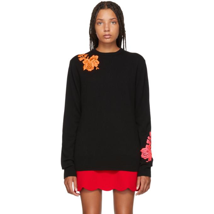 Image of Christopher Kane Black Cashmere Flower Sweater