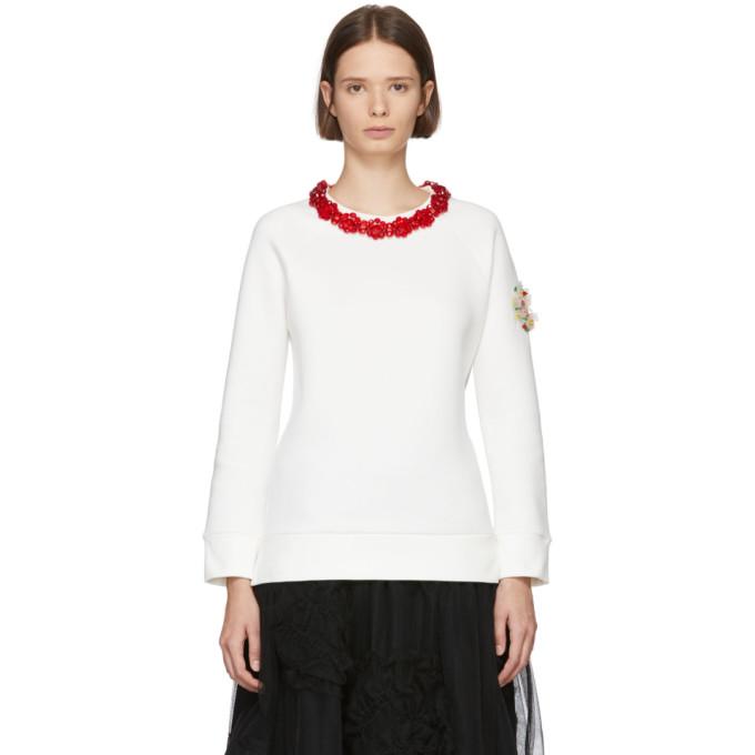 ac6f43d6437a 4 Moncler Simone Rocha Embellished Collar Sweatshirt in 034 White