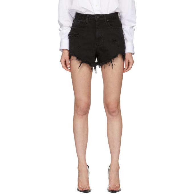 Alexander Wang Black Side Zip Bite Shorts in 018 Blk Des