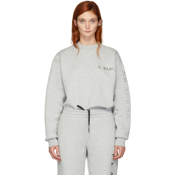 Alexander Wang Grey Platinum Pullover Sweatshirt, 020 Hthrgre