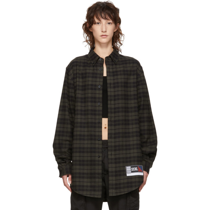 Alexander Wang Green And Black Flannel Player Id Shirt, 308Forestgr