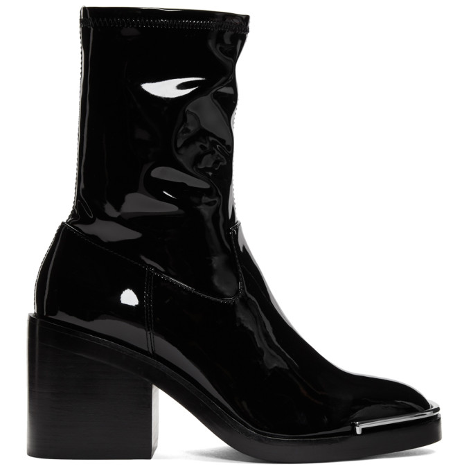 Alexander Wang Black Vinyl Hailey Boots