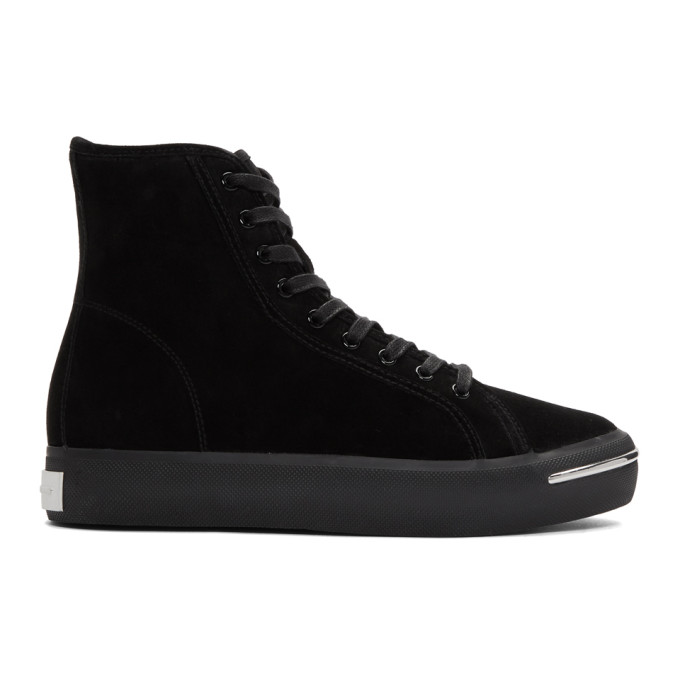 Alexander Wang Black Suede Pia High Sneakers