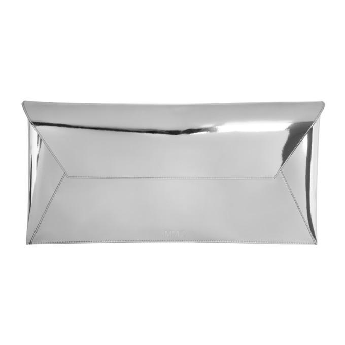 MM6 Maison Martin Margiela Silver Long Fold Over Clutch