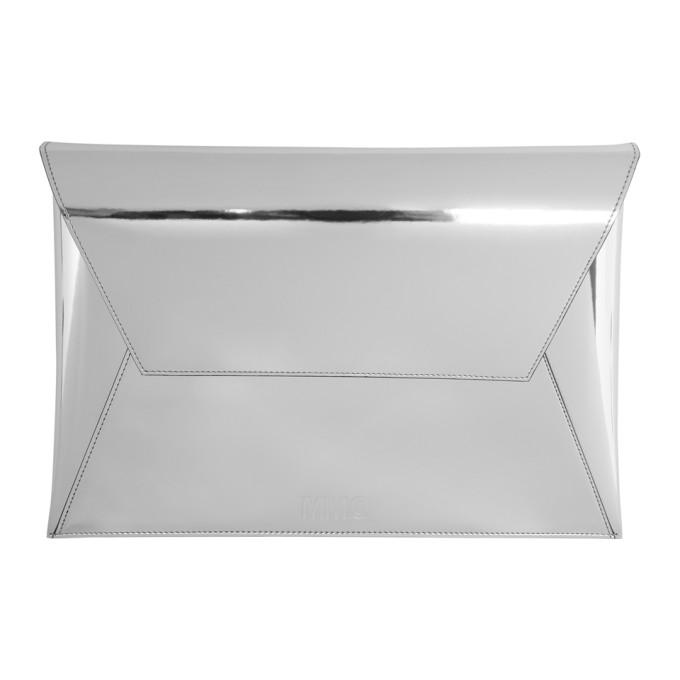MM6 Maison Martin Margiela Silver Fold Over Clutch