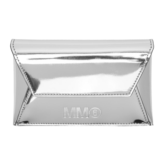 MM6 Maison Martin Margiela Silver Foldover Card Holder