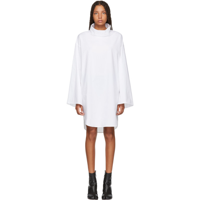 MM6 MAISON MARTIN MARGIELA WHITE TURTLENECK DRESS