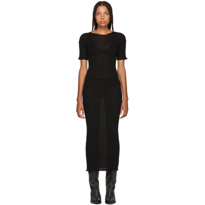 MM6 MAISON MARTIN MARGIELA BLACK FITTED THIN RIB DRESS
