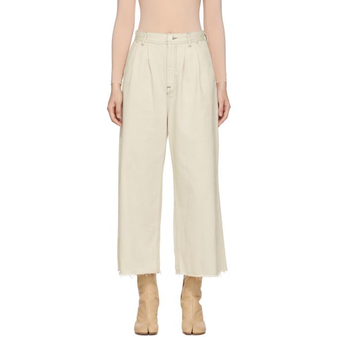 MM6 Maison Martin Margiela Off-White Garment-Dyed Jeans