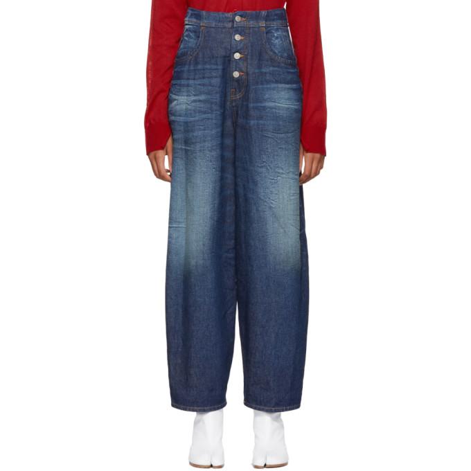 MM6 Maison Martin Margiela Blue High-Waisted Jeans