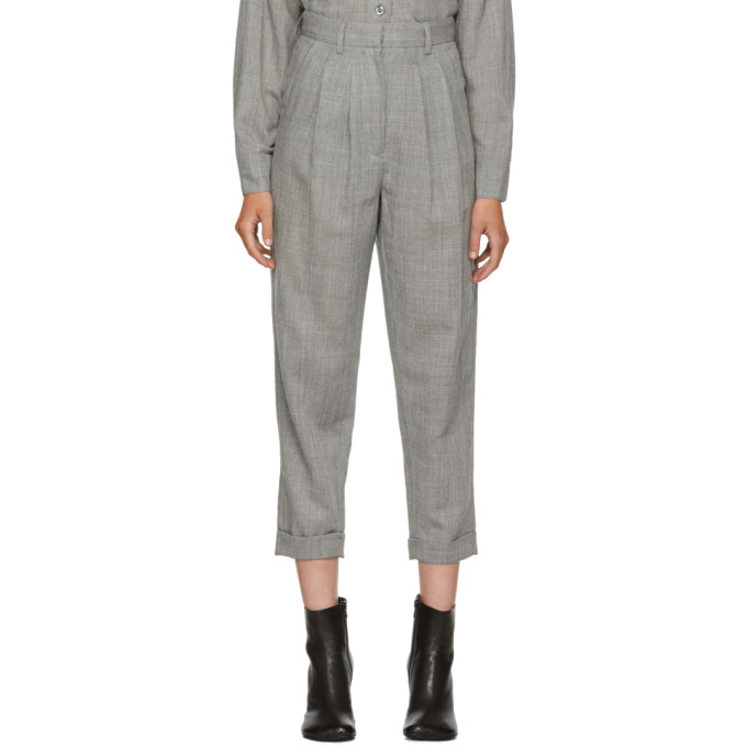 MM6 Maison Martin Margiela Grey Wool Casual Tailoring Trousers
