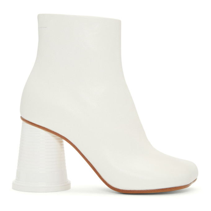 MM6 Maison Martin Margiela White Cup Heel Boots